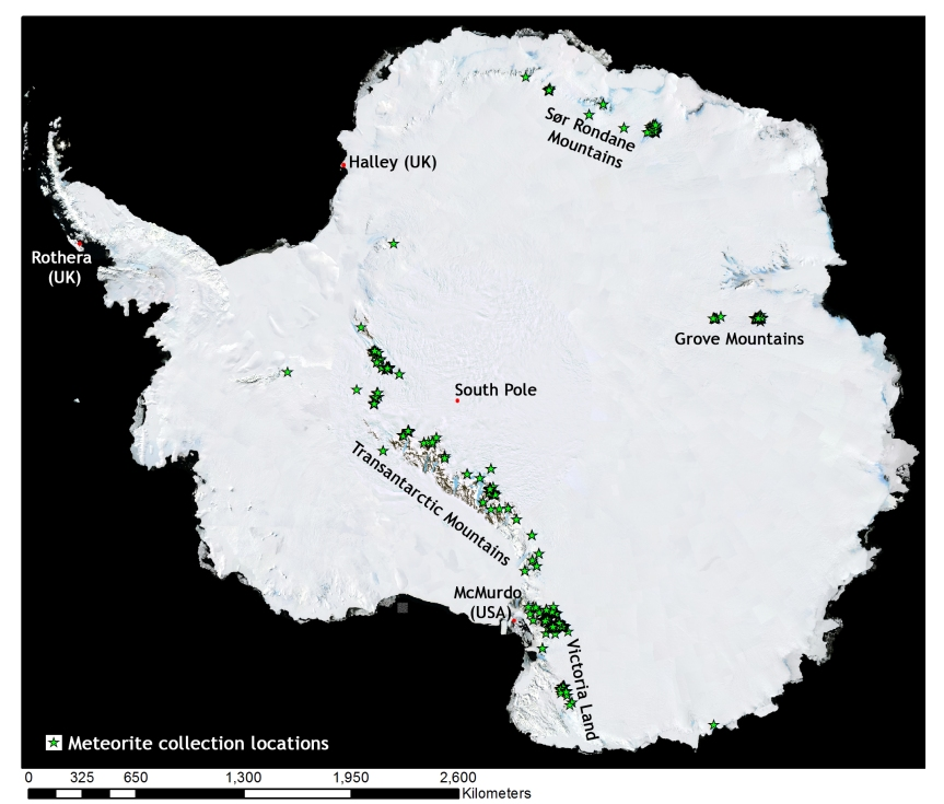 Location of meteorites collected from Antarctica and that have been classified. Also shown are locations of main research stations (Image KJoy using data from the Met Bull)