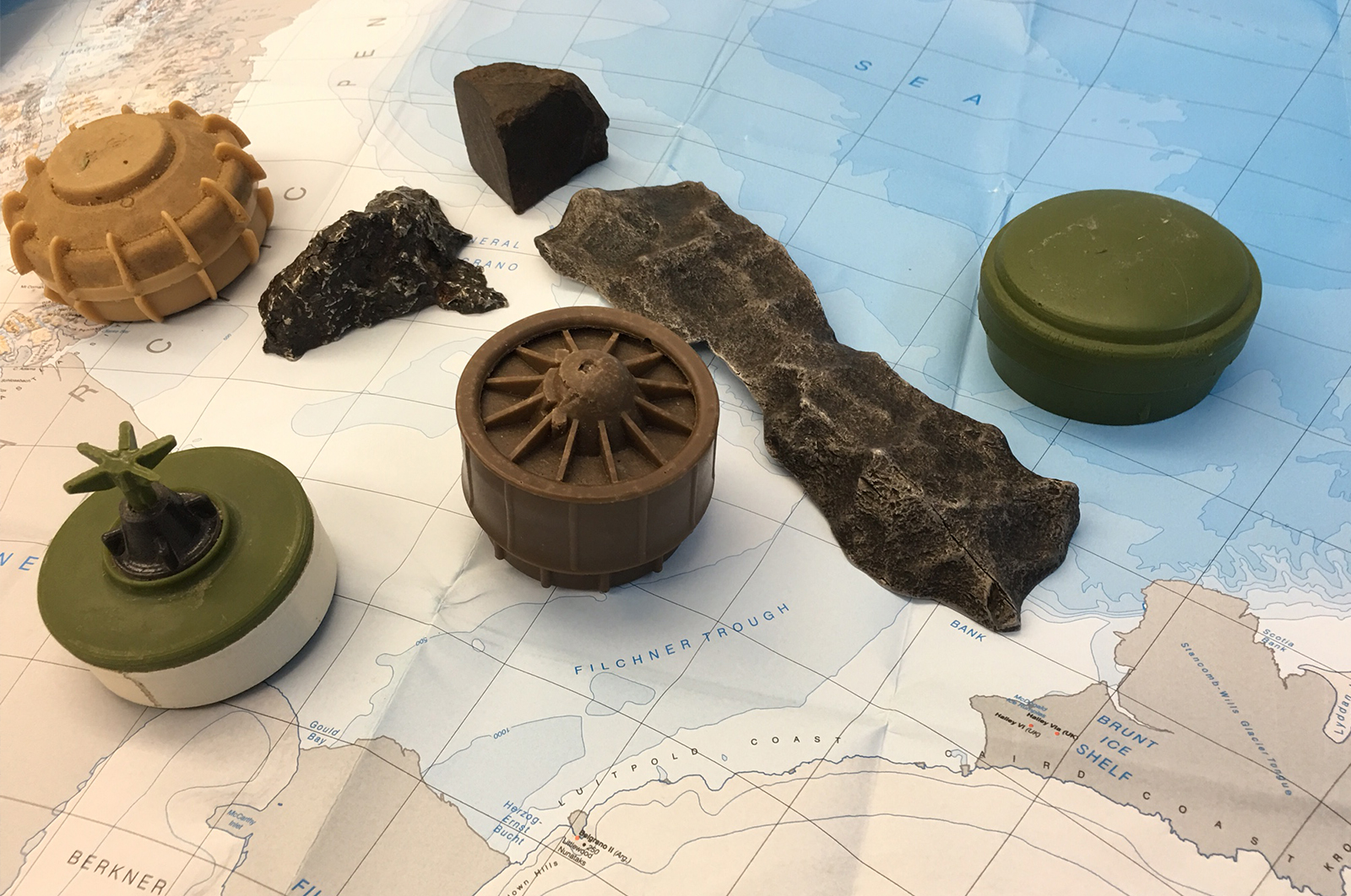 Meteorite samples and dummy landmines on map of Antarctica (Image UoM)