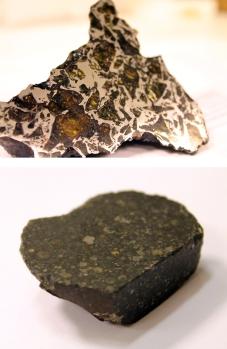 Top: Stony-iron meteorite (pallasite). Bottom stony meteorite (chondrite