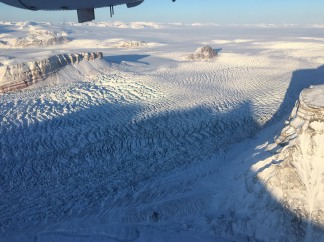 Crevasses blue ice