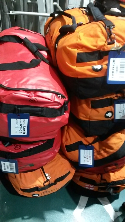 Kit bags ready for collection and checking